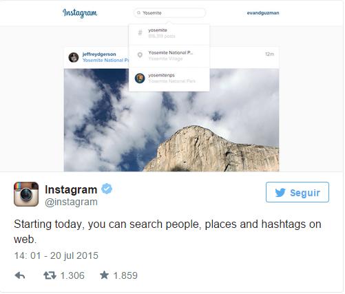 Instagram anuncia atualização do seu website via Twitter.