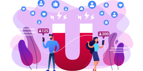 Generating new leads advertising strategy. Aiming at target audience. Attracting followers, follow us on social media, subscriber counting concept. Bright vibrant violet vector isolated illustration